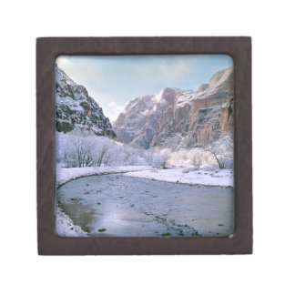 USA, Utah, Zion NP. New snow covers the canyon Jewelry Box