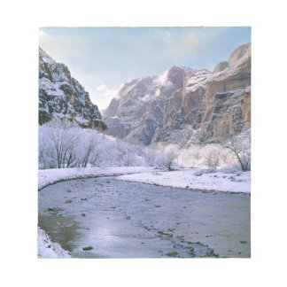 USA, Utah, Zion NP. New snow covers the canyon Note Pads