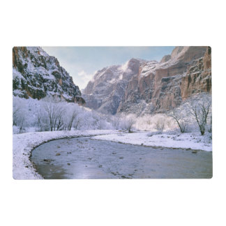 USA, Utah, Zion NP. New snow covers the canyon Placemat