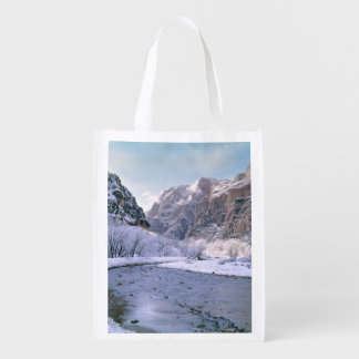 USA, Utah, Zion NP. New snow covers the canyon Reusable Grocery Bag