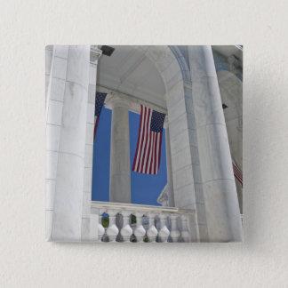 USA, VA, Arlington. American Flags are hung Button