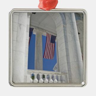 USA, VA, Arlington. American Flags are hung Metal Ornament