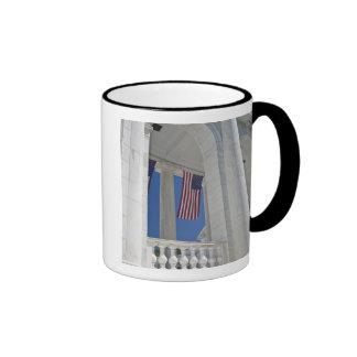 USA, VA, Arlington. American Flags are hung Ringer Coffee Mug