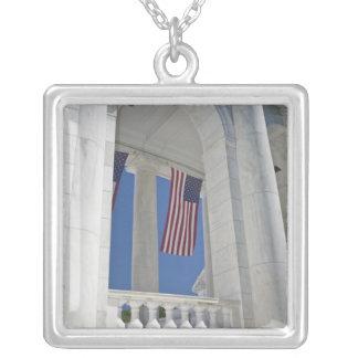 USA, VA, Arlington. American Flags are hung Pendant