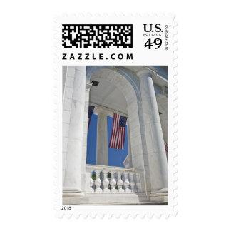 USA, VA, Arlington. American Flags are hung Postage