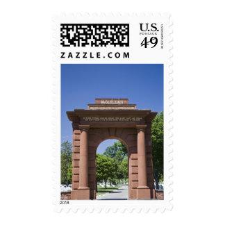 USA, VA, Arlington. McClellan Gate at Arlington Postage Stamp