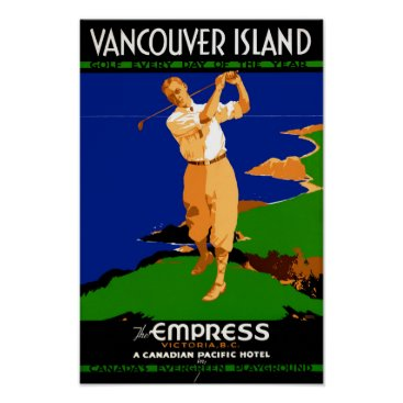 USA Themed USA Vancouver Island Vintage Poster Restored