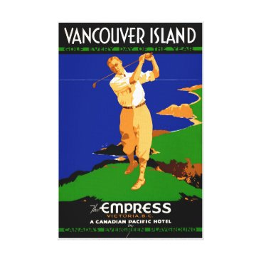 USA Themed USA Vancouver Island Vintage Poster Restored Canvas Print