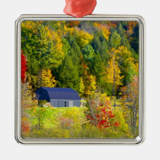 USA, Vermont. Fall foilage along Highway 100. Square Metal Christmas Ornament