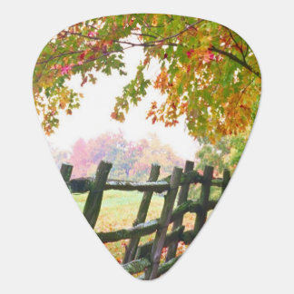 USA, Vermont. Fence under fall foliage. Guitar Pick