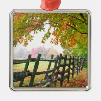 USA, Vermont. Fence under fall foliage. Metal Ornament