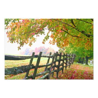 USA, Vermont. Fence under fall foliage. Photographic Print