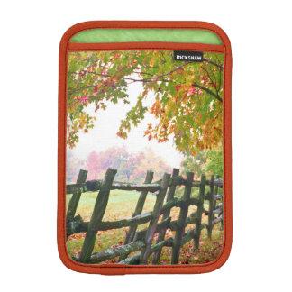 USA, Vermont. Fence under fall foliage. Sleeve For iPad Mini