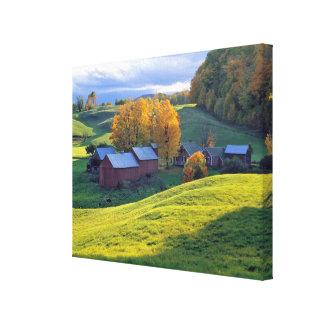 USA, Vermont, Jenne Farm. Rolling green hills Canvas Print