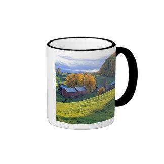 USA, Vermont, Jenne Farm. Rolling green hills Ringer Coffee Mug
