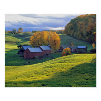 USA, Vermont, Jenne Farm. Rolling green hills Posters