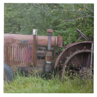 USA, Vermont, MANCHESTER: Antique Farm Tractor Ceramic Tile