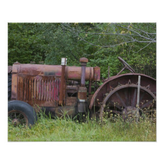 USA, Vermont, MANCHESTER: Antique Farm Tractor Poster