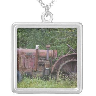 USA, Vermont, MANCHESTER: Antique Farm Tractor Silver Plated Necklace