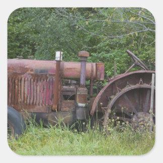 USA, Vermont, MANCHESTER: Antique Farm Tractor Square Sticker