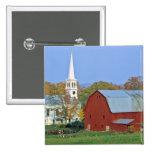 USA, Vermont, Peacham. A red barn and white 2 Inch Square Button