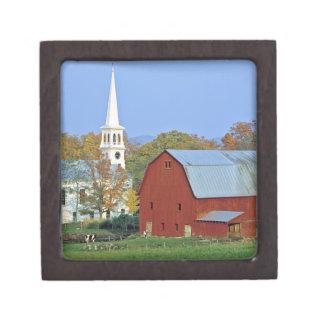 USA, Vermont, Peacham. A red barn and white Jewelry Box