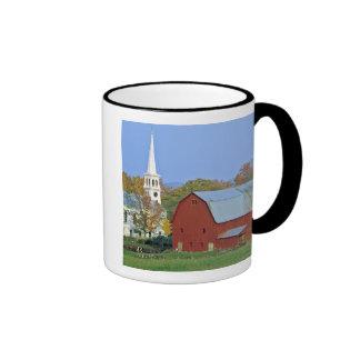 USA, Vermont, Peacham. A red barn and white Mug