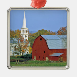USA, Vermont, Peacham. A red barn and white Christmas Tree Ornaments