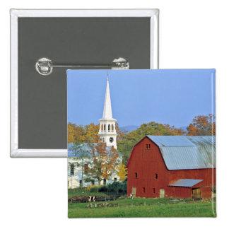 USA, Vermont, Peacham. A red barn and white Pinback Button