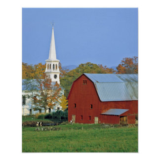 USA, Vermont, Peacham. A red barn and white Posters