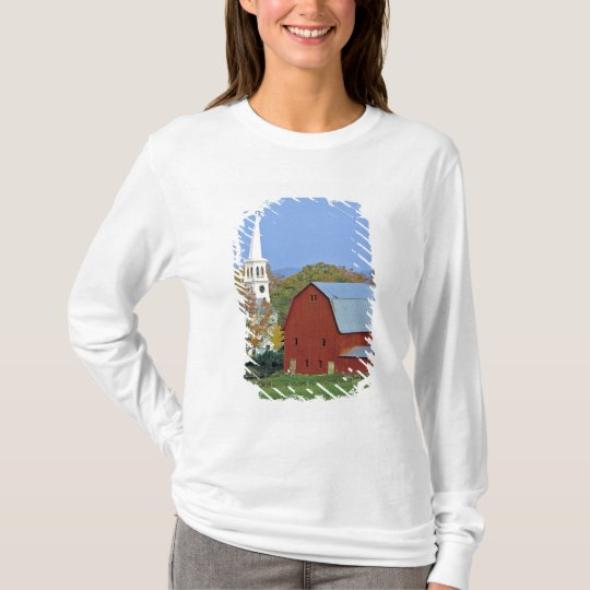 USA, Vermont, Peacham. A red barn and white T-Shirt