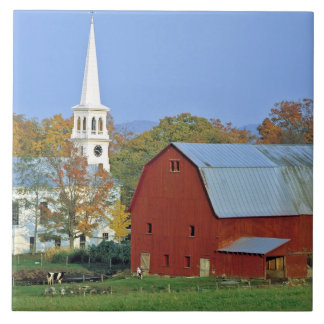 USA, Vermont, Peacham. A red barn and white Tile