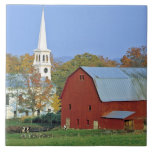 USA, Vermont, Peacham. A red barn and white Tiles