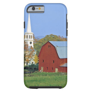 USA, Vermont, Peacham. A red barn and white Tough iPhone 6 Case