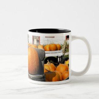 USA, Vermont. Pumpkins Two-Tone Coffee Mug
