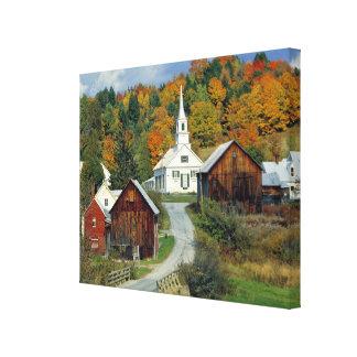 USA, Vermont, Waits River. Fall foliage adds Canvas Print