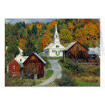 USA, Vermont, Waits River. Fall foliage adds Card