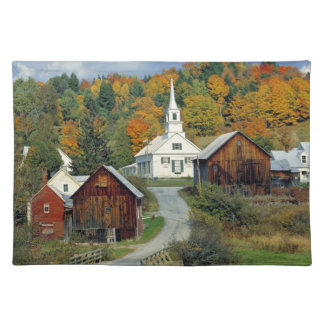 USA, Vermont, Waits River. Fall foliage adds Cloth Placemat
