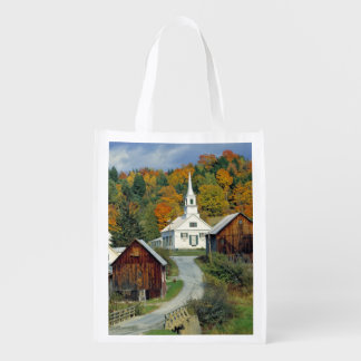 USA, Vermont, Waits River. Fall foliage adds Grocery Bags
