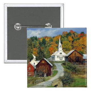 USA, Vermont, Waits River. Fall foliage adds Pinback Button