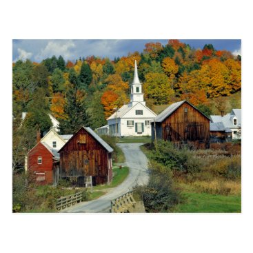 USA Themed USA, Vermont, Waits River. Fall foliage adds Postcard