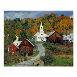 USA, Vermont, Waits River. Fall foliage adds Poster