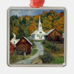 USA, Vermont, Waits River. Fall foliage adds Square Metal Christmas Ornament