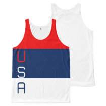USA Vertical Tri-Striped All-Over Printed Tank