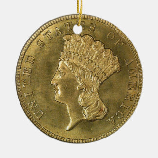 """USA vintage 1854 three dollar piece-Ornament"" Ceramic Ornament"