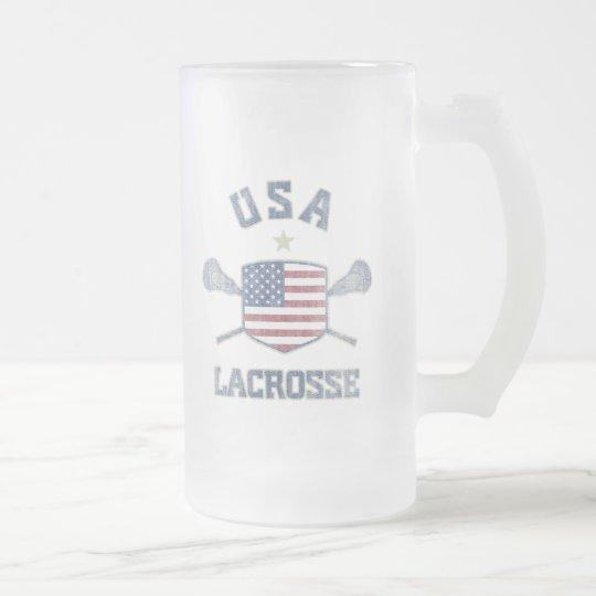 USA-Vintage Frosted Glass Beer Mug
