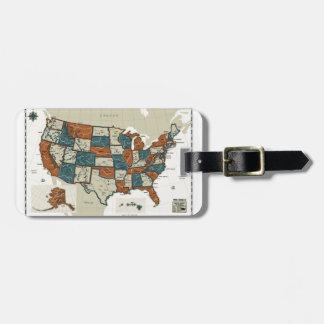 USA - Vintage Map Bag Tag