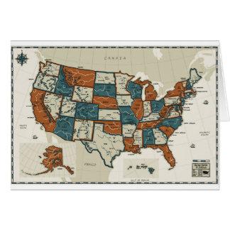 USA - Vintage Map Card