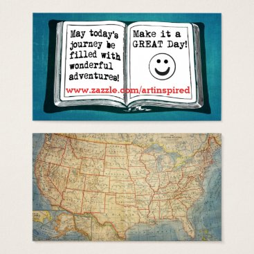 USA Themed USA Vintage Map Inspirational Words To Live By Business Card