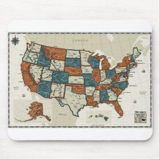 USA - Vintage Map Mouse Pad